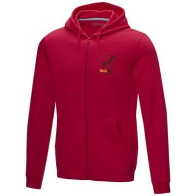 Picture of RUBY MENS GOTS ORGANIC GRS RECYCLED FULL ZIP HOODED HOODY XS in Red