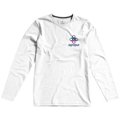 Picture of PONOKA LONG SLEEVE MENS ORGANIC T-SHIRT in White Solid