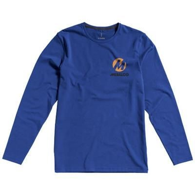 Picture of PONOKA LONG SLEEVE MENS ORGANIC T-SHIRT in Blue