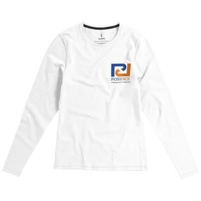 Picture of PONOKA LONG SLEEVE LADIES ORGANIC T-SHIRT in White Solid