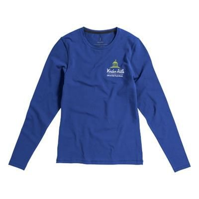Picture of PONOKA LONG SLEEVE LADIES ORGANIC T-SHIRT in Blue