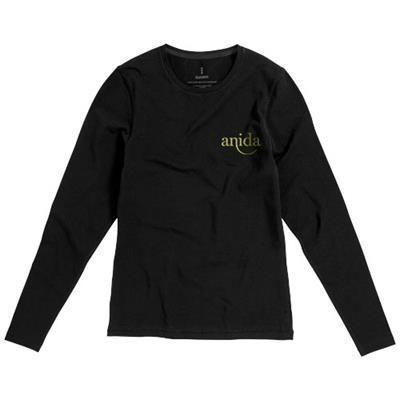 Picture of PONOKA LONG SLEEVE LADIES ORGANIC T-SHIRT in Black Solid