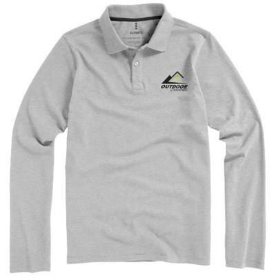 Picture of OAKVILLE LONG SLEEVE MENS POLO in Grey Melange