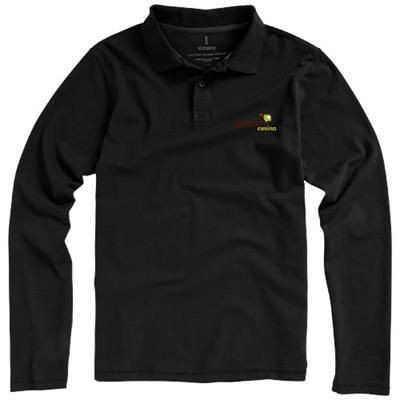 Picture of OAKVILLE LONG SLEEVE MENS POLO in Black Solid