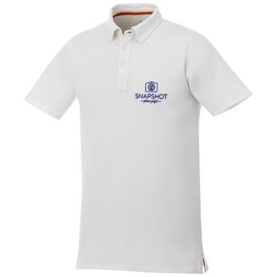 Picture of ATKINSON SHORT SLEEVE BUTTON-DOWN MENS POLO in White Solid