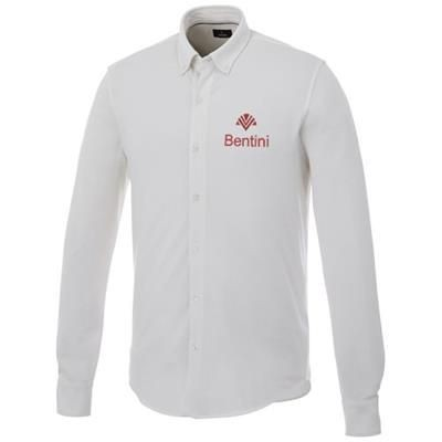Picture of BIGELOW LONG SLEEVE MENS PIQUE SHIRT in White Solid