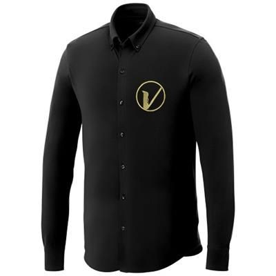 Picture of BIGELOW LONG SLEEVE MENS PIQUE SHIRT in Black Solid
