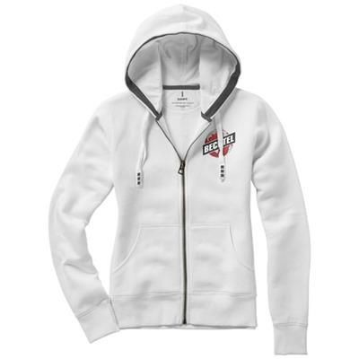 Picture of ARORA HOODED HOODY FULL ZIP LADIES SWEATER in White Solid