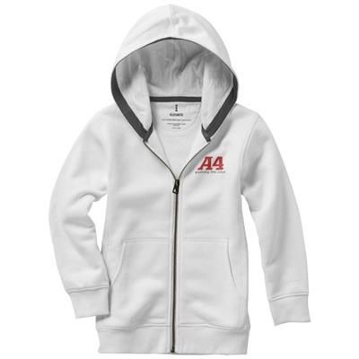 Picture of ARORA HOODED HOODY FULL ZIP CHILDRENS SWEATER in White Solid