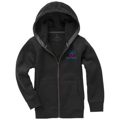 Picture of ARORA HOODED HOODY FULL ZIP CHILDRENS SWEATER in Black Solid