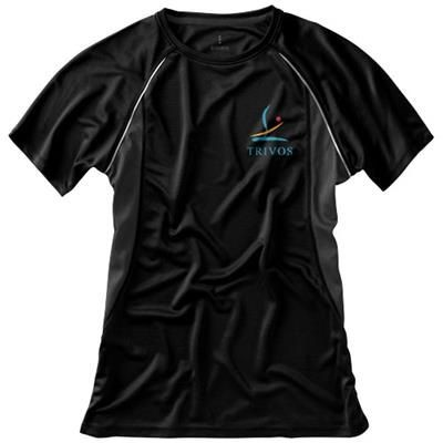 Picture of QUEBEC SHORT SLEEVE LADIES COOL FIT T-SHIRT in Black Solid