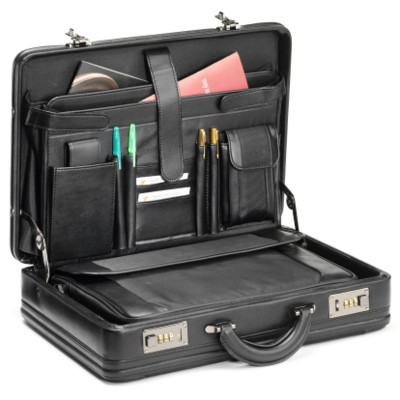 Picture of FALCON 14 INCH LAPTOP FAUX LEATHER & POLYESTER ATTACHE BRIEFCASE with Removable Laptop Bag in Black