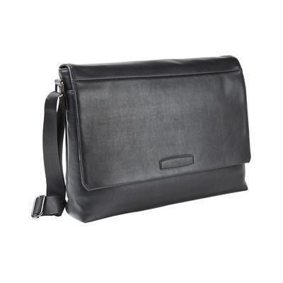 Picture of FALCON 15 INCH LAPTOP FAUX LEATHER MESSENGER BAG in Black