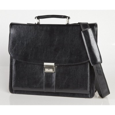 Picture of FALCON 15 INCH LAPTOP LEATHER BRIEFCASE with Shoulder Strap in Black