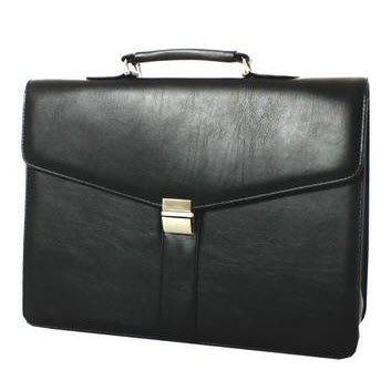 Picture of FALCON FAUX LEATHER DOUBLE GUSSET BRIEFCASE in Black