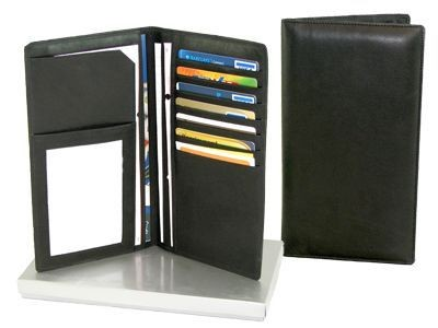 Picture of FALCON SOFT LEATHER PASSPORT AND CARD TRAVEL WALLET in Black
