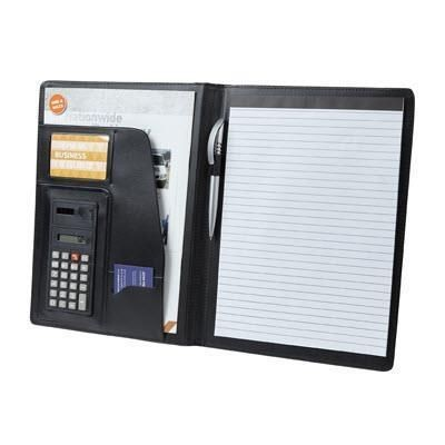 Picture of FALCON A4 FAUX LEATHER CONFERENCE FOLDER with Calculator in Black