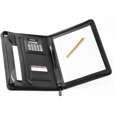 Picture of FALCON A4 LEATHER IPAD TABLET CONFERENCE FOLDER with Calculator in Black