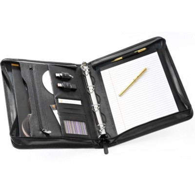 Picture of FALCON A4 LEATHER 4 RING BINDER IPAD TABLET CONFERENCE FOLDER in Black
