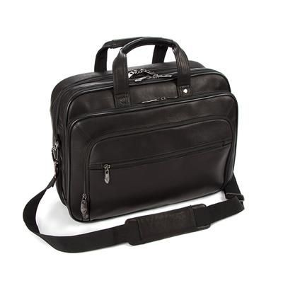 Picture of FALCON COLOMBIAN LEATHER 15 INCH LAPTOP & TABLET DOUBLE HANDLE BRIEFCASE BAG in Black