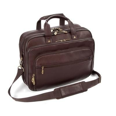 Picture of FALCON COLOMBIAN LEATHER 15 INCH LAPTOP & TABLET DOUBLE HANDLE BRIEFCASE BAG in Brown