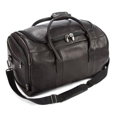 Picture of FALCON COLOMBIAN LEATHER CABIN TRAVEL HOLDALL with Soulder Strap in Black
