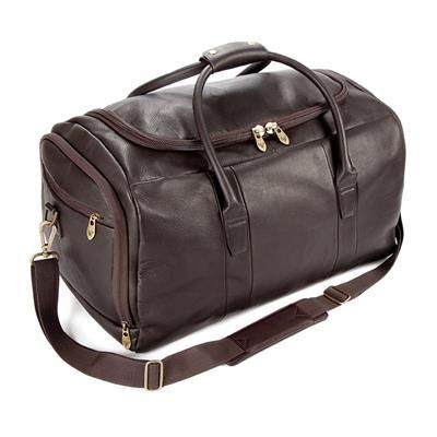 Picture of FALCON COLOMBIAN LEATHER CABIN TRAVEL HOLDALL with Soulder Strap in Brown
