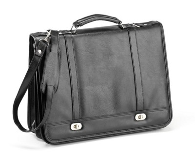 Picture of FALCON FAUX LEATHER FLAPOVER MESSENGER BRIEFCASE in Black