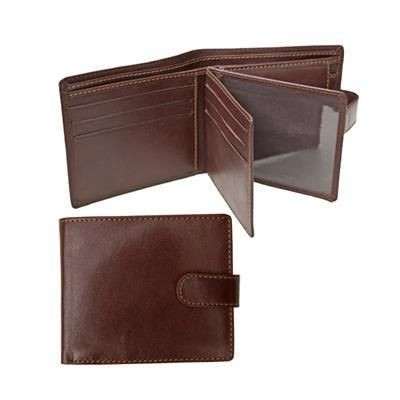 Picture of BI-FOLD TABBED LEATHER WALLET with Coin Pocket