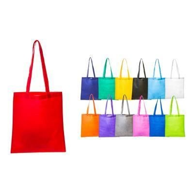 Picture of NON WOVEN SHOPPER TOTE BAG with Long Handles in Light Blue
