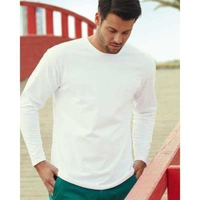 Picture of FRUIT OF THE LOOM SUPER PREMIUM LONG SLEEVE TEE SHIRT in White