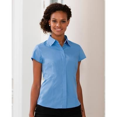 Picture of RUSSELL COLLECTION LADIES SHORT SLEEVE POPLIN SHIRT