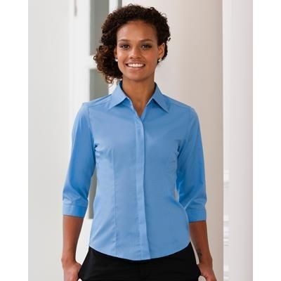 Picture of RUSSELL COLLECTION 3 QUARTER SLEEVED POPLIN SHIRT
