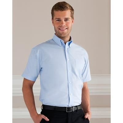 Picture of RUSSELL COLLECTION MENS SHORT SLEEVE EASY CARE OXFORD SHIRT