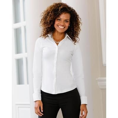 Picture of RUSSELL COLLECTION LADIES LONG SLEEVE SHIRT STRETCH TOP