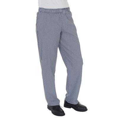 Picture of DENNYS BLUE & WHITE CHECK CHEF TROUSERS in Navy Blue & White