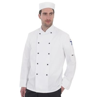 Picture of DENNYS LIGHTWEIGHT LONG SLEEVE CHEF JACKET in White