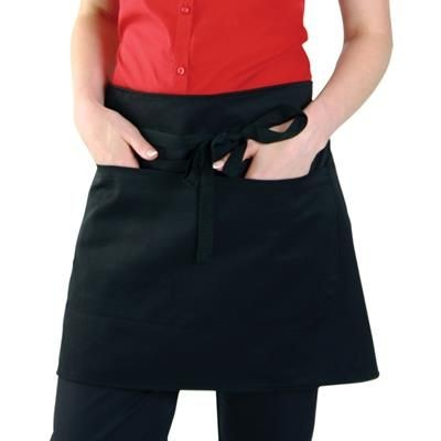 Picture of DENNYS ECONOMY SHORT BAR APRON with Pocket in Black