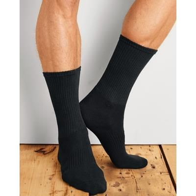 Picture of GILDAN CREW MENS SOCKS in Black