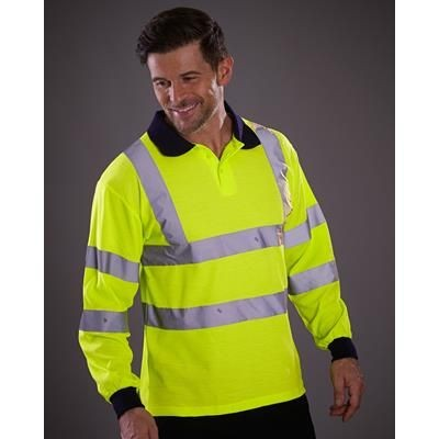 Picture of YOKO HI VISIBILITY 2 BAND LONG SLEEVE POLO SHIRT