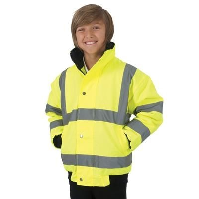 Picture of YOKO CHILDRENS HIGH VISIBILITY BOMBER SAFETY JACKET in Hi Vis Yellow