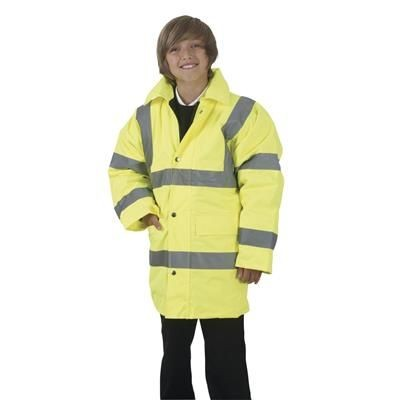 Picture of YOKO CHILDRENS HI VISIBILITY PARKA JACKET in Hi Vis Yellow
