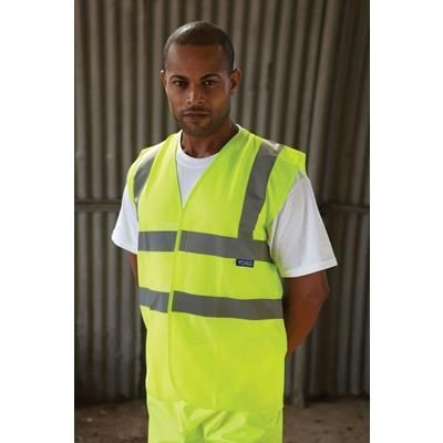 Picture of YOKO HI-VIS OPEN MESH VEST WAISTCOAT in Hi-vis Yellow