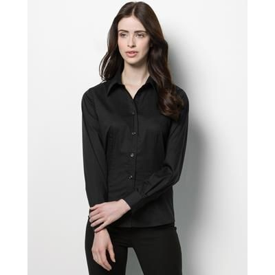 Picture of KUSTOM KIT LADIES LONG SLEEVE BAR SHIRT in Black