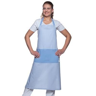 Picture of KARLOWSKY SYLT LONG STRIPE BIB APRON in Light Blue & White