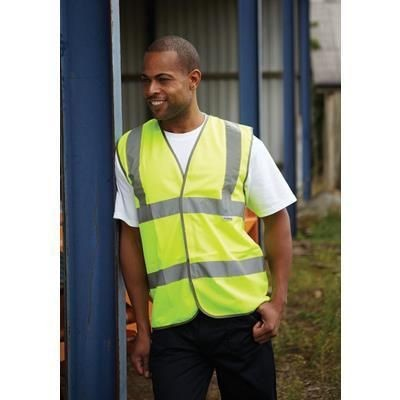Picture of DICKIES MOTORWAY SAFETY WAISTCOAT in High Visibility Yellow