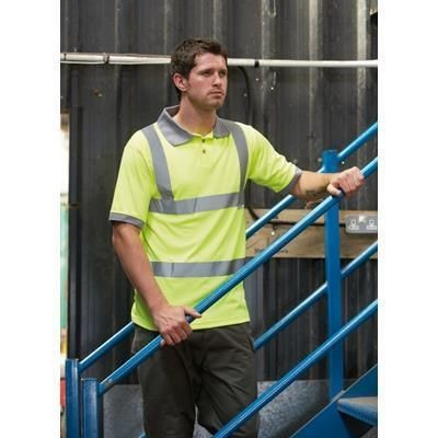 Picture of DICKIES HI VISIBILITY SAFETY POLO SHIRT in High Visibility Yellow