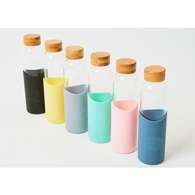 Picture of NEON FLUORESCENT KACTUS REUSABLE GLASS BOTTLE with Silicon Sleeve