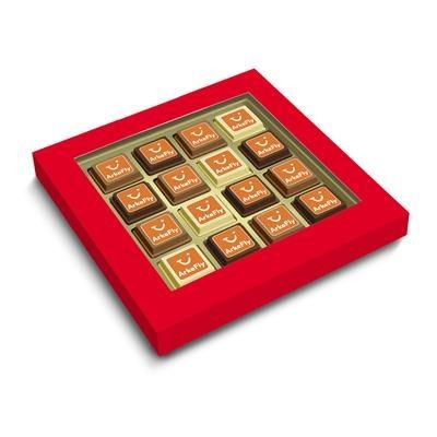 Picture of CLEAR TRANSPARENT LIDDED BOX with 16 Printed Belgian Praline