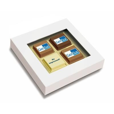 Picture of CLEAR TRANSPARENT BOX with 4 Printed Chocolate Praline